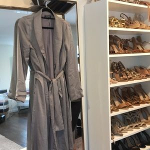 Jackets & Blazers - Grey Silk Trench